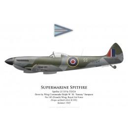 Supermarine Spitfire Mk XVI, W/C 'Sammy' Sampson, No 145 (French) Wing, Royal Air Force, Allemagne, été 194