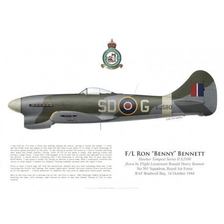 Hawker Tempest V Series II EJ580, F/L Ron Bennett, No 501 Squadron, Royal Air Force, Octobre 1944