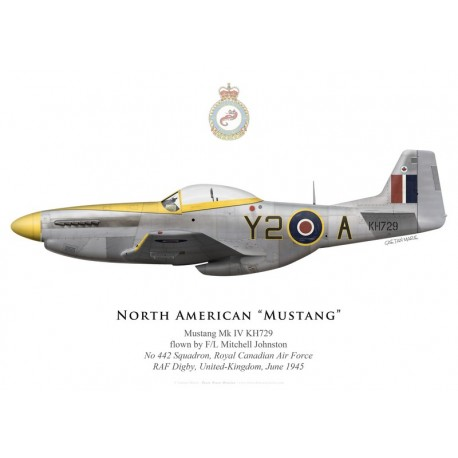 North American Mustang Mk IV KH729, F/L Mitchell Johnston, No 442 Squadron, Royal Canadian Air Force, June 1945