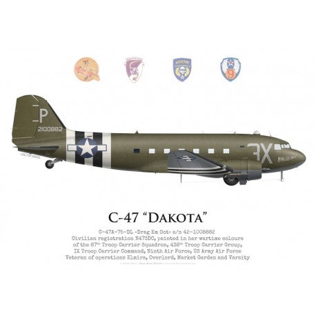 "C-47A Dakota, ""Drag Em Oot"", veteran of the 87th Troop Carrier Squadron, 438th Troop Carrier Group, USAAF"
