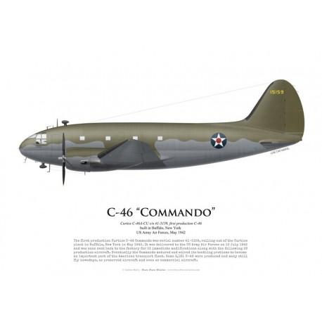 Curtiss C-46A Commando s/n 41-5159, first production C-46 Commando, May 1942