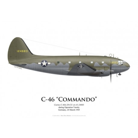 Curtiss C-46A Commando s/n 41-24683, Operation Varsity, Germany, 24 March 1945