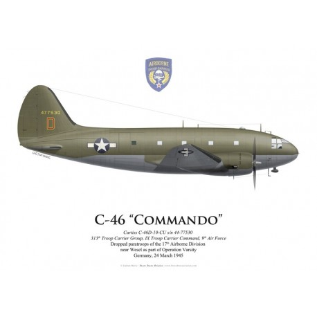 Curtiss C-46A Commando s/n 44-77530, 313th TCG, Operation Varsity, Germany, 24 March 1945
