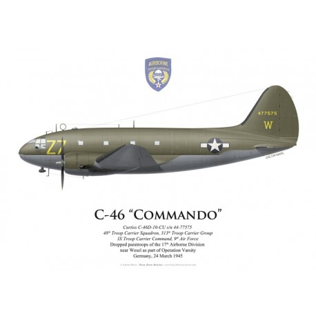 Curtiss C-46A Commando s/n 44-77575, 48th TCS, 313th TCG, Operation Varsity, Germany, 24 March 1945