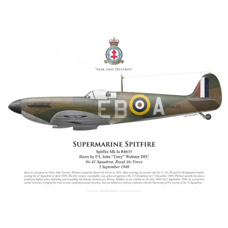 "Supermarine Spitfire R6635 Mk Ia, F/L John ""Terry"" Webster DFC, No 41 Squadron RAF"