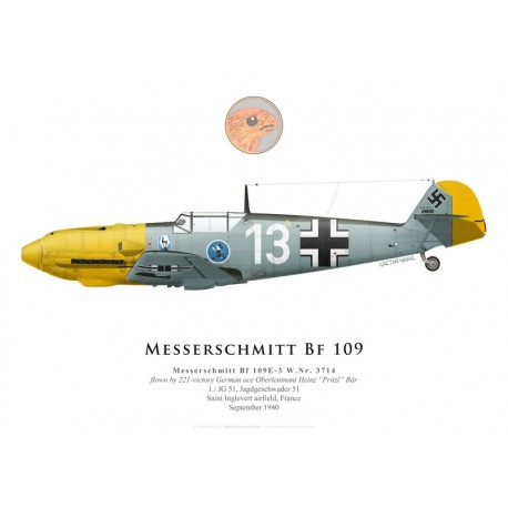 Messerschmitt Bf 109E-3, Oblt. Heinz Bär, 1./JG 51, September 1940
