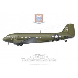 C-47A Dakota, 80th Troop Carrier Squadron, 436th Troop Carrier Group, USAAF, France, 1945