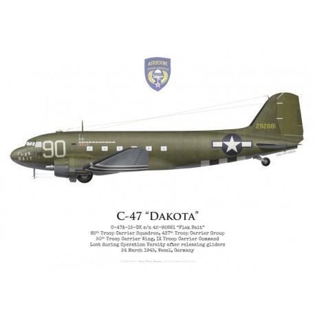 "C-47A Dakota, ""Flak Bait"", 85th TCS, 437th TCG, USAAF, Operation Varsity, avril 1945"