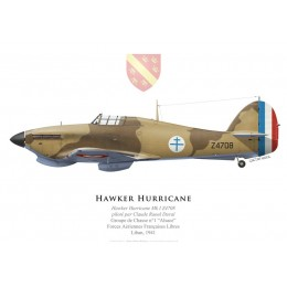 "Hawker Hurricane Mk I, Claude Raoul Duval, Free French Air Forces, Groupe de Chasse ""Alsace"", 1941"