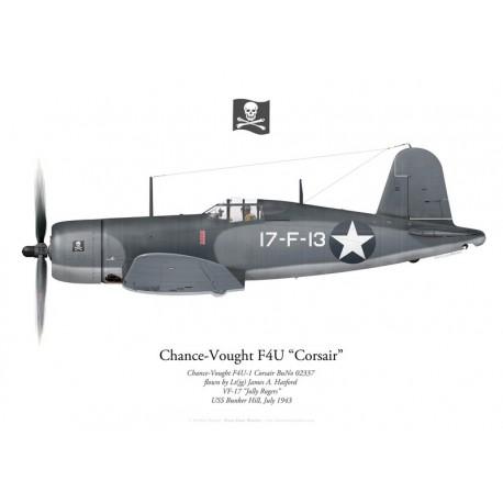 "Chance-Vought F4U-1 Corsair, Lt(jg) James Halford, VF-17 ""Jolly Rogers"", USS Bunker Hill, 1943"