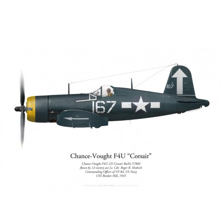 Chance-Vought F4U-1D Corsair, Lt. Cdr. Roger Hedrick, CO VF-84, USS Bunker Hill, 1945