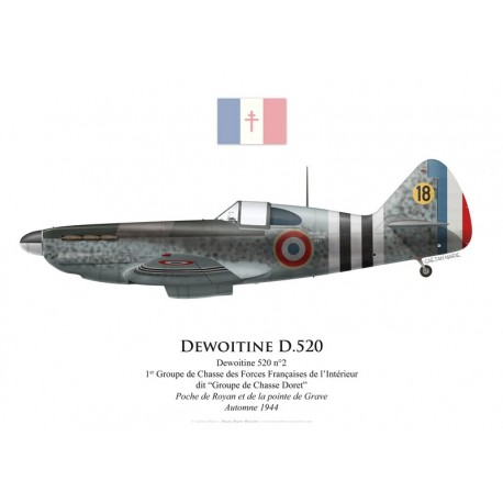 "Dewoitine D.520 No 2, Groupe de Chasse ""Doret"", Free French Forces, autumn 1944"