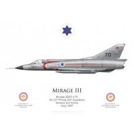 "Mirage IIICJ n°70, No 117 ""First Jet"" Squadron, armée de l'air israélienne, 1967"