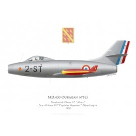 """Ouragan n°185, Escadron de Chasse 3/2 """"Alsace"""", Base Aérienne 102, Dijon-Longvic 1954"""