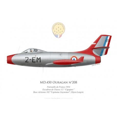 "Ouragan n°208, Patrouille de France 1954, Escadron de Chasse 1/2 ""Cigognes"", Base Aérienne 102 Dijon-Longvic"