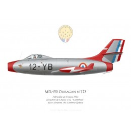 "MD.450 Ouragan No 173, Patrouille de France 1955, Escadron de Chasse 1/12 ""Cambrésis"", French air force"