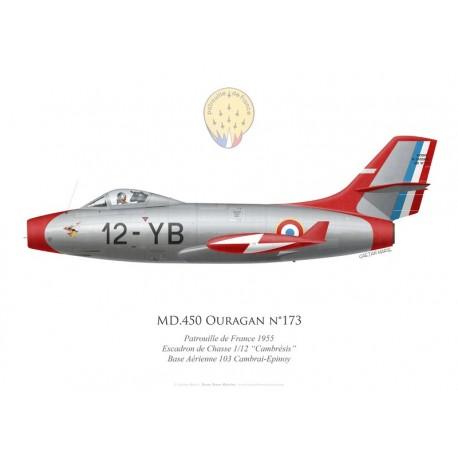"""MD.450 Ouragan n°173, Patrouille de France 1955, Escadron de Chasse 1/12 """"Cambrésis"""", BA 103 Cambrai-Epinoy"""