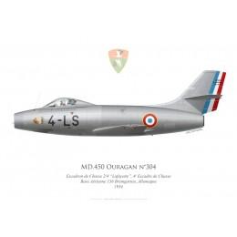 """Ouragan n°304, Escadron de Chasse 2/4 """"Lafayette"""", 4e Escadre de Chasse, Base Aérienne 136 Bremgarten, Allemagne, 1954"""