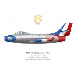 "MD.450 Ouragan, Patrouille de France 1956, EC 1/4 ""Dauphiné"", French air force, Bremgarten airbase, Germany"