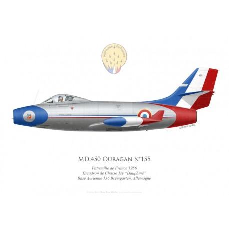 """MD.450 Ouragan, Patrouille de France 1956, Escadron de Chasse 1/4 """"Dauphiné"""", BA 136 Bremgarten, Allemagne"""