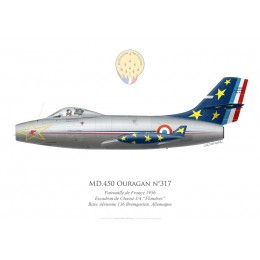 "MD.450 Ouragan No 317, Patrouille de France 1956, Escadron de Chasse 3/4 , French air force""Flandres"""