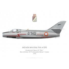 """Mystère IVA n°293, Escadron de Chasse 2/8 """"Nice"""", Base Aérienne 120 Cazaux, 1979"""