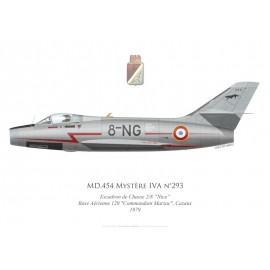 "Mystère IVA No 293, Escadron de Chasse 2/8 ""Nice"", French air force, Cazaux airbase, 1979"
