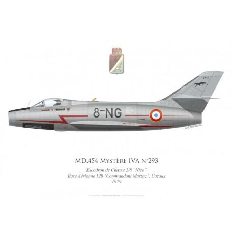 """MD.454 Mystère IVA n°293, Escadron de Chasse 2/8 """"Nice"""", Base Aérienne 120 Cazaux, 1979"""