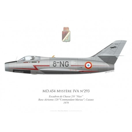 """MD.454 Mystère IVA No 293, Escadron de Chasse 2/8 """"Nice"""", French air force, Cazaux airbase, 1979"""