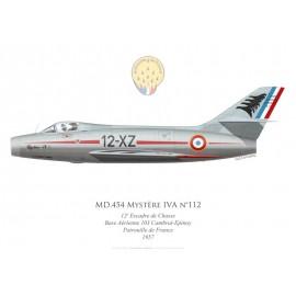 Mystère IVA n°112, Patrouille de France 1957, 12e Escadre de Chasse, Base Aérienne 103 Cambrai-Epinoy