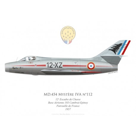 MD.454 Mystère IVA n°112, 12e Escadre de Chasse, French air force, Cambrai-Epinoy airbase, Patrouille de France, 1957
