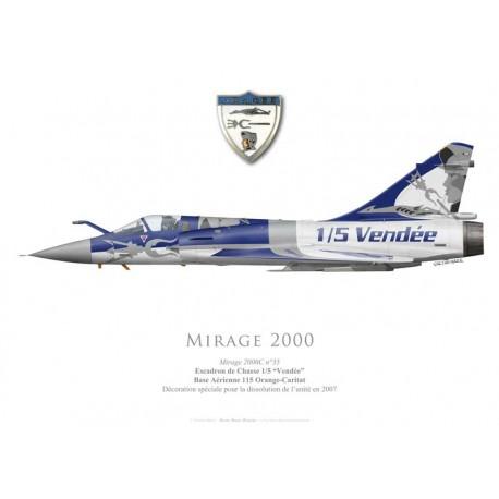 """Mirage 2000C, EC 1/5 """"Vendée"""", Décoration spéciale dissolution de l'escadron en 2007"""