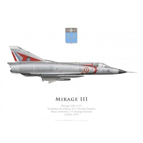 Mirage IIIC n°37, Escadron de Chasse 2/5 «Ile-de-France», Base Aérienne 115 Orange-Caritat, juillet 1975