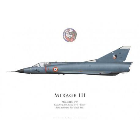 """Mirage IIIC n°64, Escadron de Chasse 2/10 """"Seine"""", Base Aérienne 110 Creil"""