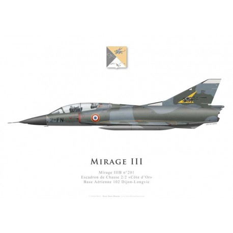 """Mirage IIIB n°201, Escadron de Chasse 2/2 """"Côte d'Or"""", French air force, Dijon-Longvic airbase"""
