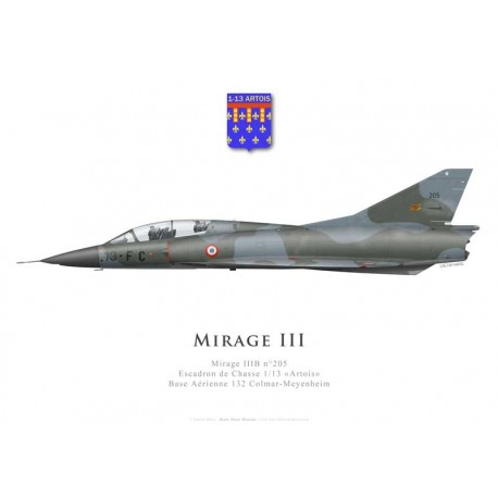Mirage IIIB No 205, Escadron de Chasse 1/13 «Artois», French air force, Colmar-Meyenheim airbase