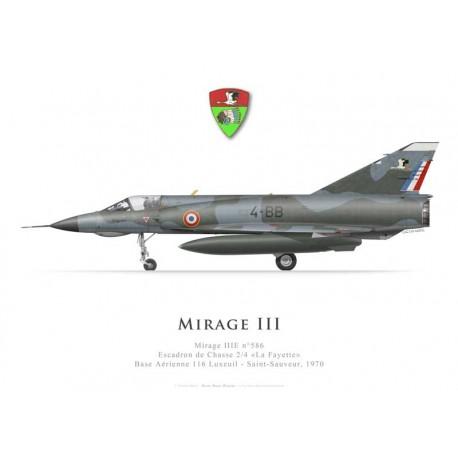 Mirage IIIE n°586, Escadron de Chasse 2/4 «La Fayette», Base Aérienne 116 Luxeuil, 1970