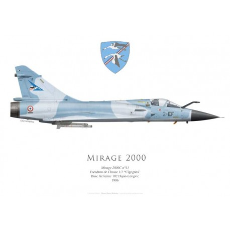 "Dassault Mirage 2000C No 11, EC 1/2 ""Cigognes"", BA 102 Dijon-Longvic, 1986"