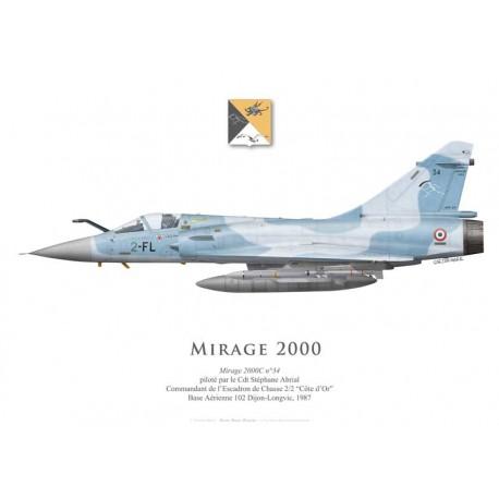 "Mirage 2000C No 34, Cdt Abrial, officer commanding EC 1/2 ""Cigognes"", BA 102 Dijon-Longvic, 1987"