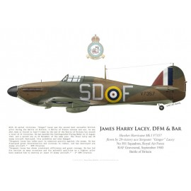 "Hurricane Mk I V7357, Sgt ""Ginger"" Lacey DFM & Bar, No 501 Squadron, Royal Air Force, septembre 1940"