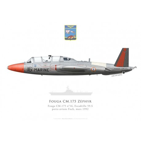 Fouga CM.175 Zéphyr n°16, Escadrille 59.S, PA Foch, 1992