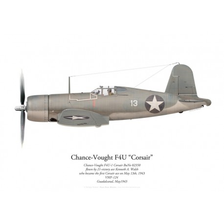 Chance-Vought F4U-1 Corsair, Kenneth Walsh, VMF-124, Guadalcanal, May 1943