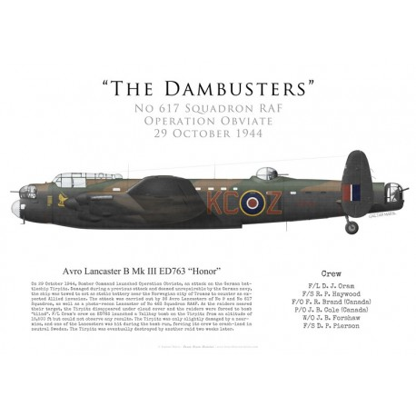 """Avro Lancaster Mk III ED763 """"Honor"""", F/L Oram, No 617 Squadron RAF, Operation Obviate, 29 octobre 1944"""