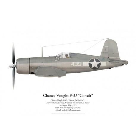 Chance-Vought F4U-1 Corsair 02435, Kenneth Walsh, VMF-215, Munda, août 1943
