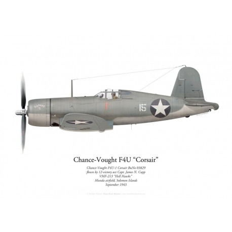 Chance-Vought F4U-1 Corsair 03829, Capt James Cupp, VMF-213, Munda, September 1943