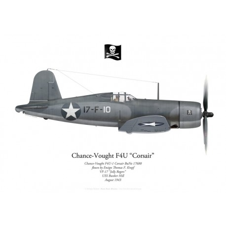 "Chance-Vought F4U-1 Corsair BuNo 17680, Ens. Thomas Kropf, VF-17 ""Jolly Rogers"", USS Bunker Hill, 1943"