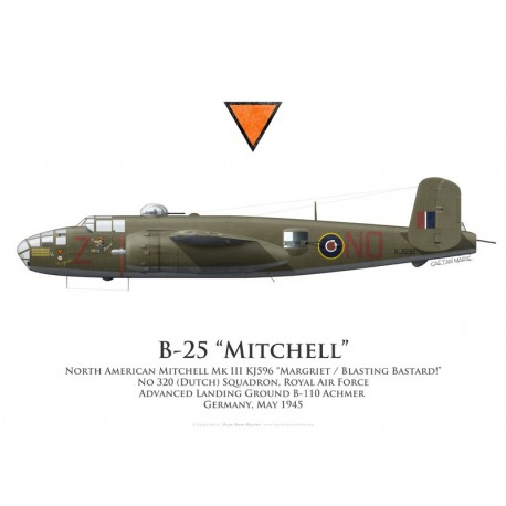 "North American Mitchell Mk III KJ596 ""Margriet / Blasting Bastard !"", No 320 (Dutch) Squadron, Royal Air Force, 1945"