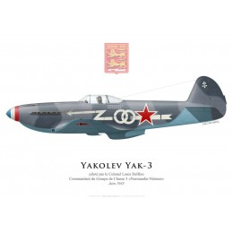"Yakolev Yak-3, Col. Louis Delfino, commandant du GC 3 ""Normandie-Niémen"", 1945"