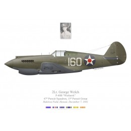 P-40B Warhawk, 2Lt George Welch, 47th PS, 15th PG, Haleiwa Field, Hawaii, 7 December 1941
