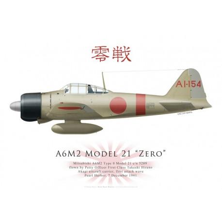 Mitsubishi A6M2 Model 21 Zero 5289, PM Takeshi Hirano, Akagi, Pearl Harbor, 7 décembre 1941